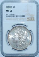 1888 S NGC MINT STATE 62 MORGAN SILVER DOLLAR