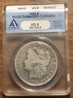 1894 MORGAN SILVER DOLLAR ANACS GRADED VG-8 DETAILS KEY DATE COIN