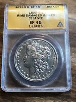 1896-S MORGAN $1 ANACS EXTRA FINE 45 DETAILS BETTER DATE  COIN