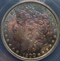 BEAUTIFUL 1900 MINT STATE 63 MORGAN SILVER DOLLAR MUST SEE MONSTER RAINBOW TONING