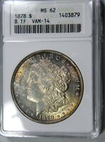 1878 MORGAN $1 8TF VAM-14 ANACS MINT STATE 62 IN 25 YR OLD HOLDER PQ LOOKS BETTER