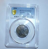 PCGS F DETAIL GENUINE/DAMAGE 1804 DRAPED BUST HALF CENT C  P