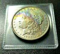 1900 P MORGAN SILVER DOLLAR DOUBLE SIDED INTENSE NEON HALF MOON RAINBOW TONED