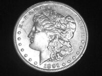 1891-S MORGAN DOLLAR --- ALMOST UNCIRCULATED DETAILS - POLISHED