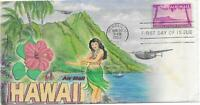 C46     80C HAWAII ; HAND DRAWN AND HAND PAINTED CACHET IN WATERCOLORS ON FDC