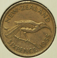 1955 XF NEW ZEALAND 6 PENCE