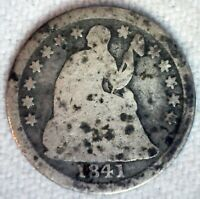 1841 US HALF DIME SILVER COIN CIRCULATED CIRCULATED GOOD CAPPED LIBERTY BUST