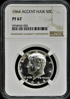 1964 PROOF KENNEDY HALF DOLLAR   ACCENT HAIR   NGC PF67