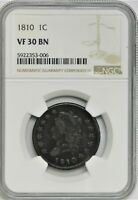 1810 CLASSIC HEAD LARGE CENT - NGC VF 30 BN