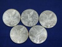 2007 LOT OF 5 COINS 1 OZ ONZA SILVER LIBERTAD MEXICO NR WHIT