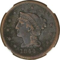 1844, 1C, LARGE CENT - BRAIDED HAIR - CORROSION - NGC EXTRA FINE  DETAILS