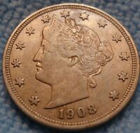 1908 LIBERTY V NICKEL 5C CH EXTRA FINE -AU  US COIN.