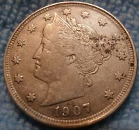 1907 LIBERTY V NICKEL 5C CH EXTRA FINE   US COIN.