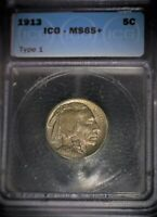 1913 BUFFALO NICKEL, ICG 65,1ST. YEAR CLASSIC, GEM GRADE , TONED, ISSUE FREE