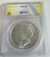 1923 PEACE DOLLAR - MINT STATE 61 - ANACS