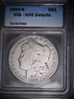 1895-S MORGAN SILVER DOLLAR ICG - G06 , GOOD SOLID COIN,  DATE