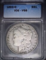1893-O MORGAN SILVER DOLLAR ICG - VG8 ,  KEY DATE, ISSUE FREE