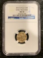 2014 $5 GOLD AMERICAN EAGLE 1/10 OZ EARLY RELEASES  NGC MS70