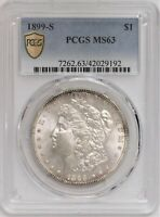1899-S MORGAN SILVER DOLLAR - PCGS MINT STATE 63  BETTER DATE