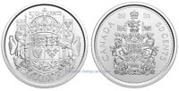 CANADA 2021 SET OF TWO COINS 50 CENT REGULAR & 100TH ANNIVERSARY COAT OF ARMS BU
