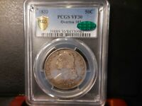 1833 PCGS VF30 OVERTON 103 CAPPED BUST HALF / R2  CAC CERTIF