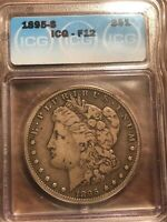 1895 S MORGAN SILVER DOLLAR $1 COIN CERTIFIED ICG F-12 KEY DATE LOOKS VF