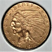 1912 GOLD US $2.50 INDIAN HEAD QUARTER EAGLE COIN