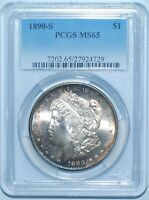 1890 S PCGS MINT STATE 65 MORGAN SILVER DOLLAR