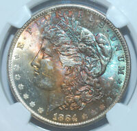 1884 O NGC MINT STATE 63 MORGAN SILVER DOLLAR RAINBOW TONED