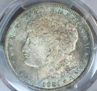 1921 $1 MORGAN SILVER DOLLAR PCGS MINT STATE 64 COLOR TONED BU UNC MS