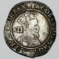 1623 1624 KING JAMES I GREAT BRITAIN SILVER SHILLING COIN