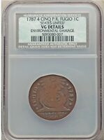1787 FUGIO CENT 4 CINQ NEWMAN VARIETY 6W NCS VG DETAILS