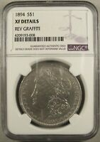 1894 MORGAN SILVER DOLLAR NGC EXTRA FINE  DETAILS LOW MINTAGE KEY DATE HARD TO FIND
