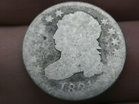 1821 CAPPED BUST SILVER DIME- LARGE DATE, ABOUT GOOD DETAILS
