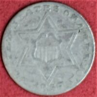 1857 3 CENT SILVER VG
