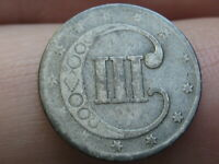 1853 THREE 3 CENT SILVER TRIME- GOOD/VG DETAILS