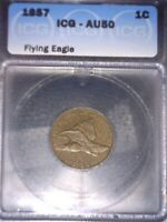 1857 FLYING EAGLE CENT, ICG AU50,  ISSUE FREE