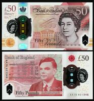ENGLAND NEW 50   POLYMER   UNC   ALAN TURING   WORLDWIDE SHIPPING   PRO PACKING