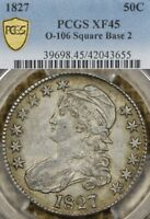 1827 50C PCGS EXTRA FINE 45 O-106 CAPPED BUST HALF DOLLAR SQUARE BASE 2 OVERTON
