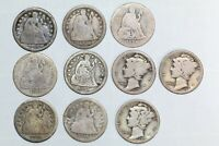 LOT OF 7 SEATED LIBERTY DIMES & 3 MERCURY DIMES - SILVER COLLECTOR COINS