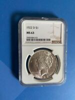 1922D PEACE DOLLAR MINT STATE 63 BEAUTIFUL WHITE COIN