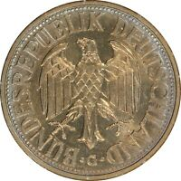1950 G, WEST GERMANY, 1 MARK - BEAUTIFUL GOLD TONED - ANACS MINT STATE 63