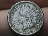 1860 COPPER NICKEL INDIAN HEAD CENT PENNY- POINTED BUST, FINE DETAILS