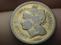 1865 THREE 3 CENT NICKEL- FINE DETAILS, GOLD PLATED