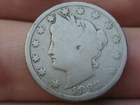 1883 LIBERTY HEAD V NICKEL 5 CENT PIECE- WITH CENTS, GOOD/VG DETAILS