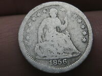 1856 P SEATED LIBERTY HALF DIME- GOOD/VG DETAILS