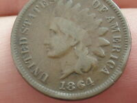 1864 L INDIAN HEAD CENT PENNY- POINTED BUST, FINE DETAILS