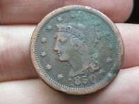 1850 BRAIDED HAIR LARGE CENT PENNY- FINE DETAILS