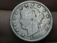 1894 LIBERTY HEAD V NICKEL 5 CENT PIECE- GOOD/VG DETAILS, FULL DATE