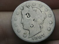 1887 LIBERTY HEAD V NICKEL 5 CENT PIECE- FULL DATE, COUNTERSTAMPED